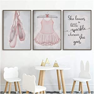 """Posters Prints Ballet Girls Room Decor Ballerina Wall Art Pictures Canvas Painting Nursery Wall Decoration Girl Giclee 30x45 cm/11.8"""" x 17.7""""x3 No Frame"""