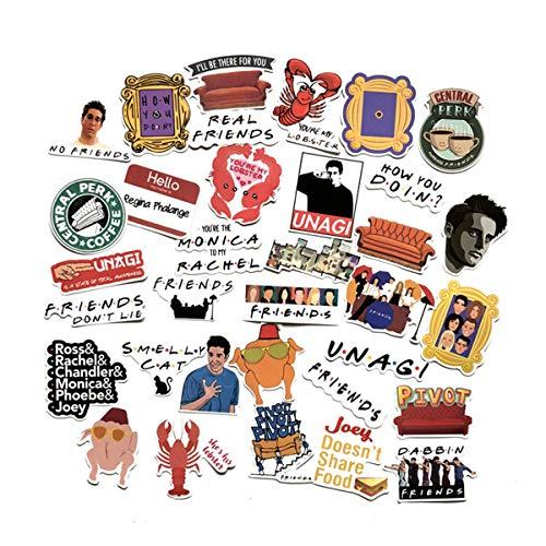 Sticker Pack Friends - 34 pcs Movie Friends Themed Waterproof Vinyl Stickers for Personalize Laptop, Car, Helmet, Skateboard, Luggage Graffiti Decals (Friends)