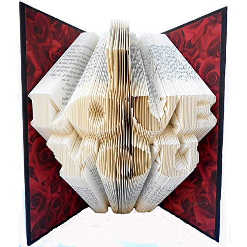 Hand Folded Book Art Sculpture, I LOVE YOU, for a Special Loved One, 1st Paper Anniversary Gift - First Love Sculpture