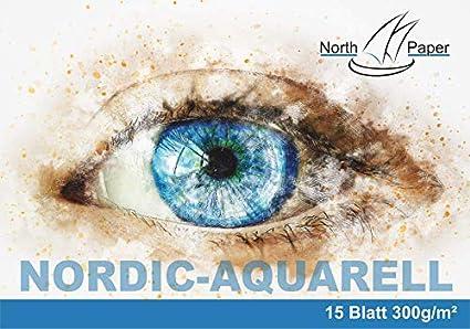 A5 North-Paper AuarellpapierNordic-Aquarell 300g//m/² Format A5 oder A6 verleimt mit R/ückpappe und Umschlag