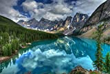 Nature Art Poster Print on Canvas 24x35in- Turquoise lake in Banff National Park (P-1001424)
