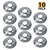 [10-Pack] PROCURU 1/2-Inch CTS Escutcheon Flange Plate Pipe Cover, Chrome-Plated Steel with SureGrip, for 1/2'' Copper Pipe