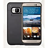 iElectronicc™ HTC ONE M9 Battery Case,4500mAh Rechargeable Extended Charging Case for HTC ONE M9, Backup External Battery Charger Case, Portable Backup Power Bank Case with Kickstand (Black)