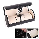 Idlespace Roll Organizer Grids Jewelry Storage Case PU Leather 3 Slots Watch Display Box