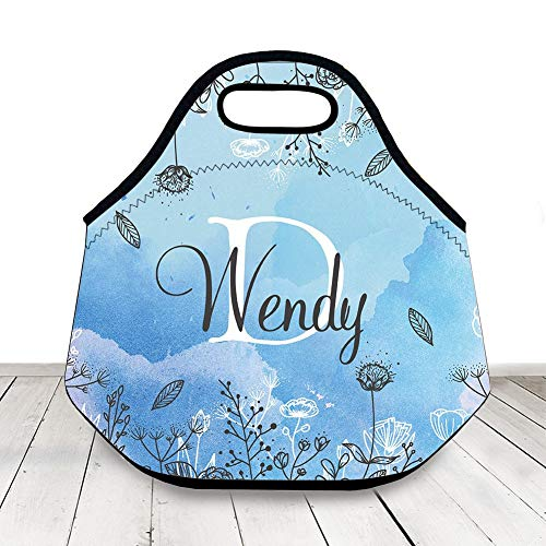 Blue Neoprene Lunch Bag Insulated Lunch Box Personalized Name Monogram Initials,Custom Lunch Bag Insulated For Woman,Kids Lunch