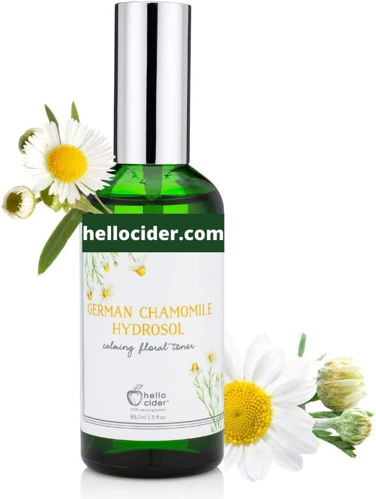 Chamomile HYDROSOL FACE Toner - Organic Floral Water to Hydrate, Calm & Sooth Sensitive Skin, Prevent Acnes, Restore pH . All Skin Types & Children. USA Made - Hello Cider
