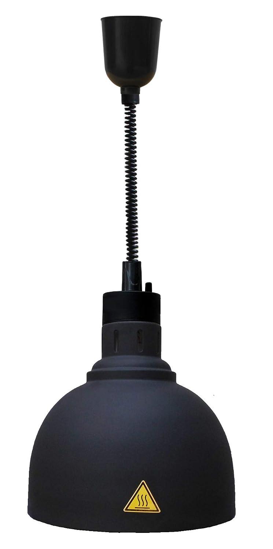 Wärmelampe Buffet Speisen Wärmestrahler zur Deckenbefestigung Ø 240 mm Schwarz 0, 25 kW 230 V Spiralkabel stufenlos einstellbar GastroTrade