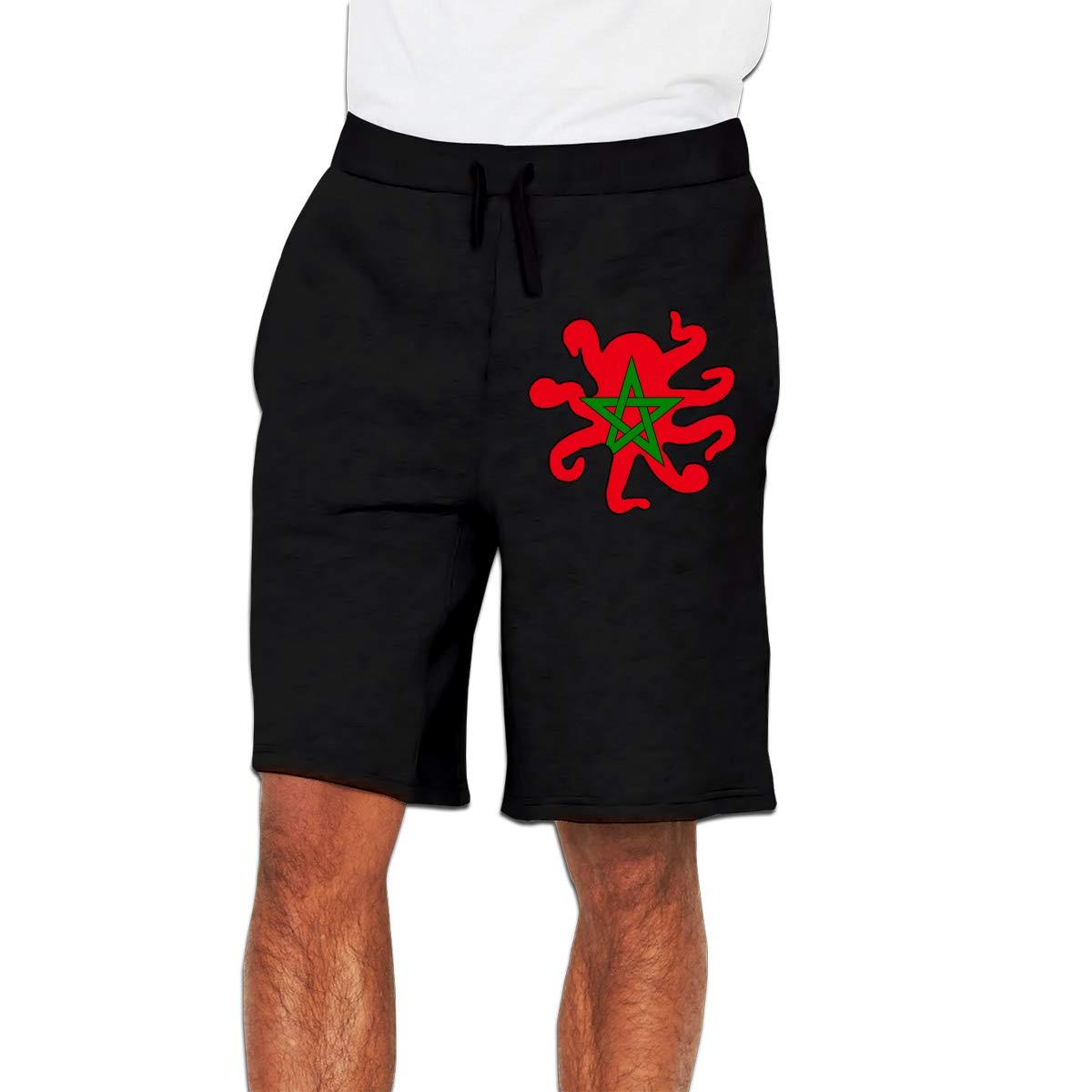 Yecx-1 Mens Octopus Shaped Morocco Flag Jogger Shorts Bodybuilding Short