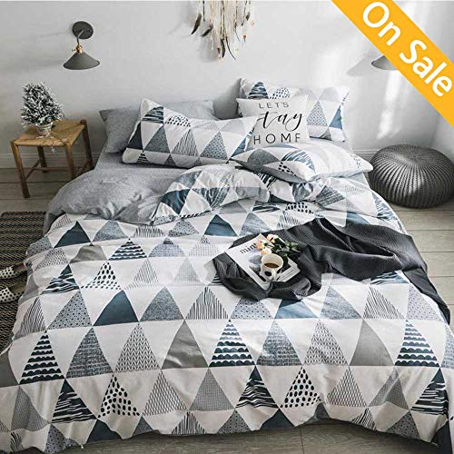 Modern Bedding Set - AMZTOP 【Latest Arrival】 Comforter Cover Queen Cotton Triangles Duvet Cover Geometric Duvet Cover Modern Comforter Cover Full Grey White Blue Bedding Collection Cover for Kids,NO Comforter NO Sheet