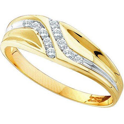 0.12 Carat (ctw) 10K Yellow Gold Round Cut Diamond Mens Channel Set Fashion Wedding Band (Size (0.12 Ct Mens Diamond)