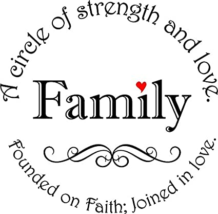 Newclew Family a circle of strength and love, found on faith; joined in  love. Removable vinyl wall art Inspirational encouragement poetry quotes  and ...