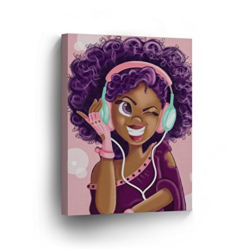 Purple Haired African Girl Earphones Pink Background Digital Painting Canvas Print Kids Room Wall Art African Art Home Decor Stretched Ready to Hang -%100 Handmade in The USA - 12x8