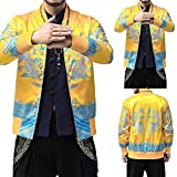 FANOUD Winter Stand Collar Retro Printed Zipper Jacket Men Coat