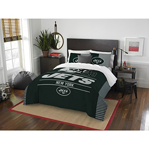3 Piece NFL New York Jets Comforter Set Full/Queen Size, College Dorm Sports Fan Bedroom, National Football League Themed, Featuring Team Logo Printed Draft Unisex Bedding, Green, White, Multicolor