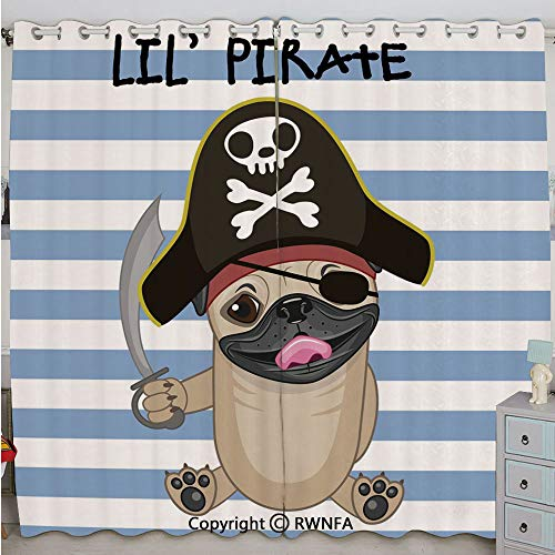 Justin Harve window Buccaneer Dog in Cartoon Style Costume Holding Sword Lil Pirate Striped Backdrop Custom Blackout Curtains Set of 2 Panels(100