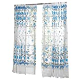 Hot Sale! Peony Sheer Curtain Tulle Window Treatment Voile Drape Valance 1 Panel Fabric (Blue)