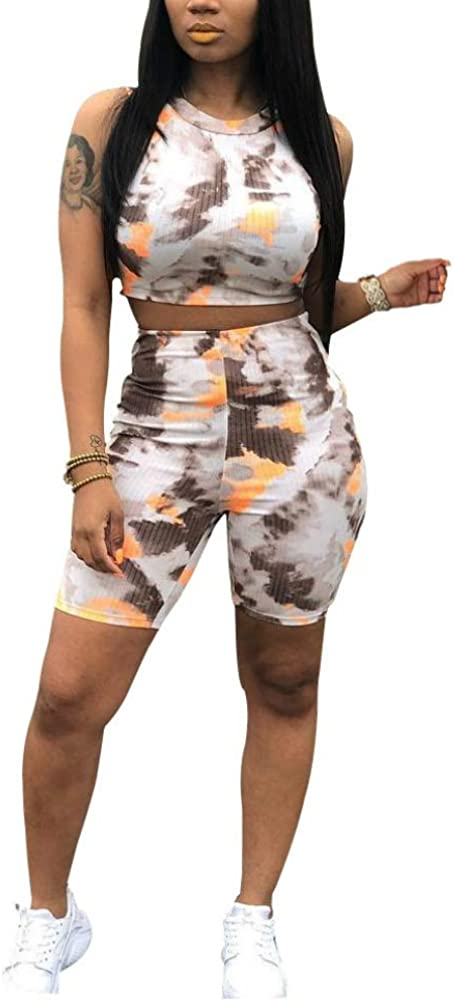 Women/'s 2 Piece Outfits Colorful Tie Dye Sport Bodycon Crop Tops Skinny Long Pants//Shorts Tracksuit Set