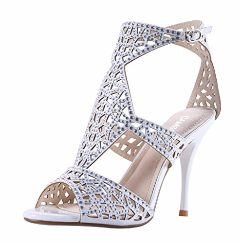 CAMSSOO Women's Ankle Strap Heels Sandals Peep Toe Stiletto Pumps Party Dress Shoes Silver Velveteen original for sale XAyIIa