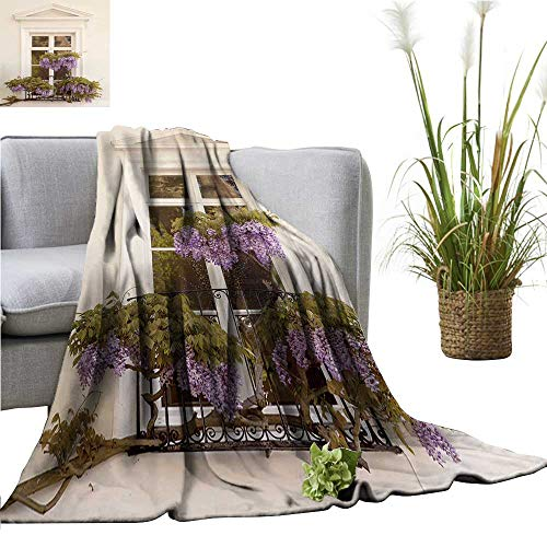 (YOYI Polyester blanketdrap Wisteria Wisteria Drapes Across The Wrought Iron Balcony n Equally Cozy and Durable 50