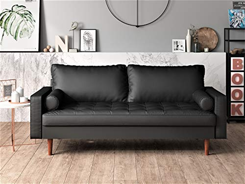 US Pride Furniture , Sofa, Black - Eucalyptus sofa foot PU Leather 47% Polyvinyl Chloride - sofas-couches, living-room-furniture, living-room - 51iippOzEaL -