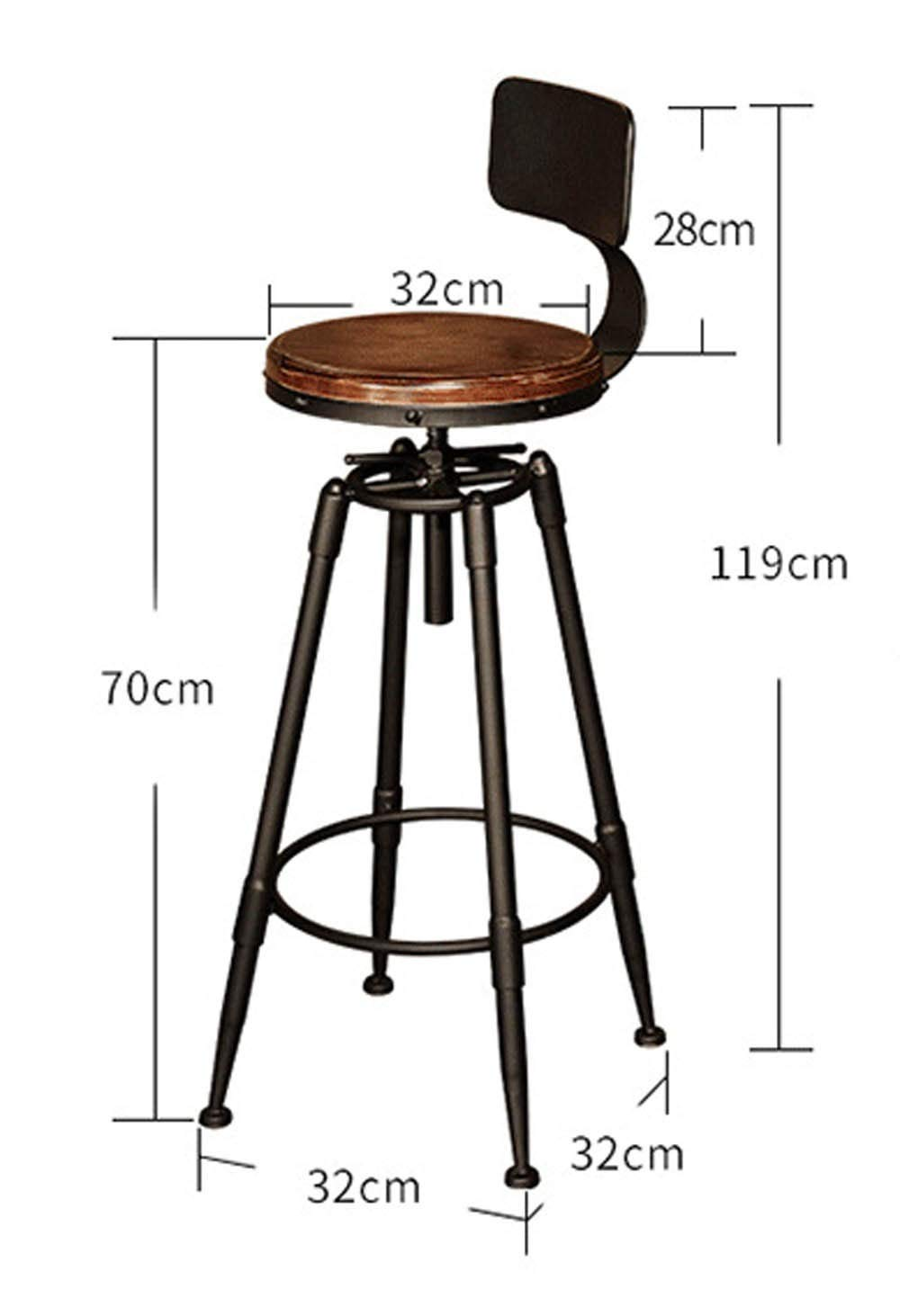 AO-stools Iron Bar Stool Front Desk High Bar Stool Bar Chair Cafe by AO (Image #3)