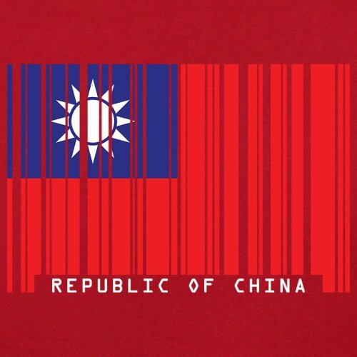 Republic of China / Republik China (Taiwan) Barcode Flagge - Herren T-Shirt - Rot - XL