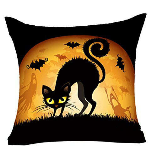 LEIOH Halloween Decorations Black Cat Bat Pillow Covers Cotton Linen Sofa Home Decor Throw Pillow Case Cushion Covers 18 X 18 Inch