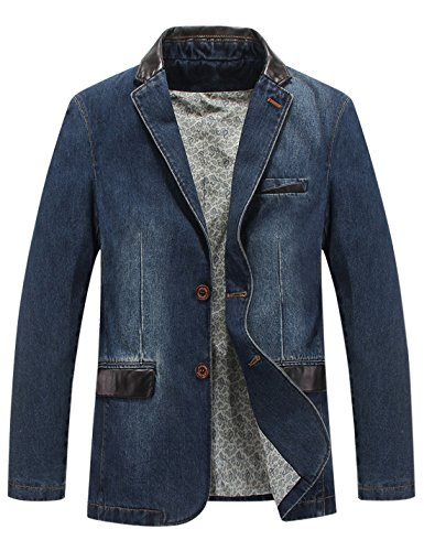 Gihuo Men's Casual Classic Fit Lapel Denim Jacket Single-Breasted Sport Coat (X-Small, Blue) by Gihuo