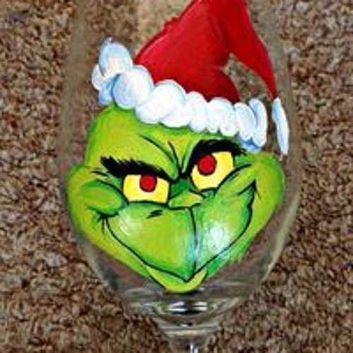 The Grinch Hand Painted Glass - Hand Painted Glass Head