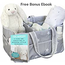 Large Portable Baby Diaper Caddy Organizer – Fits All Diaper Sizes - Nursery Storage Bin with Extra Bottom Sheet, Changing Table Basket, Car Organizer for Baby Stuff, Bonus EBook!