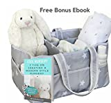 Baby : Large Portable Baby Diaper Caddy Organizer – Fits All Diaper Sizes - Nursery Storage Bin with Extra Bottom Sheet, Changing Table Basket, Car Organizer for Baby Stuff, Bonus EBook!