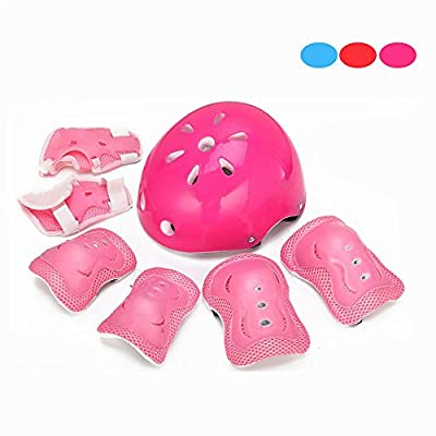 Kid's Knee Pads, Skque® 7 Pcs Elbow, Knee, Wrist and Helmet Sports Pad Set for Children, Size Medium, Pink by Skque