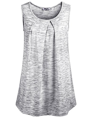 Hibelle Pleated Blouse, Women's Scoop Neck Sleeveless Cool Summer Casual Flows Tank Top Shell Boutique Clothing Light Grey X-Large