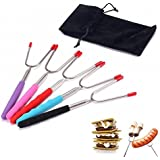 Set of 5 Premium Marshmallow Roasting Sticks,Safe for Kids Extra Long 34'' Telescoping Extendable Hot Dog Smores Forks - Fire Pit, Camping, Campfire, Bonfire & Outdoor Cookware Kit-Handy Bag