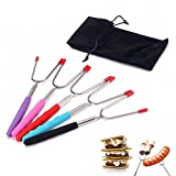 Set of 5 Premium Marshmallow Roasting Sticks,Safe for Kids Extra Long 34'' Telescoping Extendable Hot Dog Smores Forks – Fire Pit, Camping, Campfire, Bonfire & Outdoor Cookware Kit-Handy Bag Review