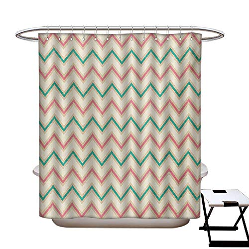 haommhome Chevron Hotel Quality Shower Curtain Liner Digital Chevron Forms with Technical Elements Old Military Insignia Print Shower Curtain with 12 Beaded Rings Pink Cream Green72×72