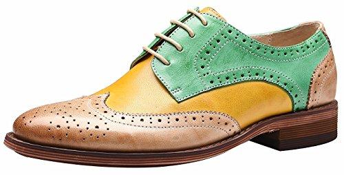 Wingtip Perforada con Mujer Oxford Verde Oxfords SimpleC Multicolor Cuero Cordones Amarillo Oficina Vintage Plano Cómodo Zapatos de xpFgqIwnC