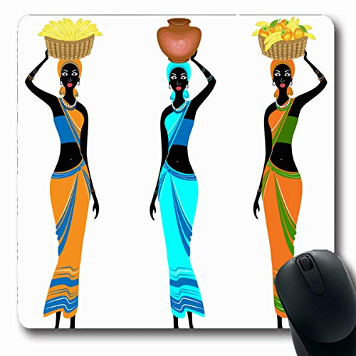Tobesonne Mousepads Figure Slender African American Ladies Girl Carries Fruit Basket On Her Head Bananas Oranges Design Oblong Shape 7.9 x 9.5 Inches Non-Slip Gaming Mouse Pad Rubber Oblong Mat