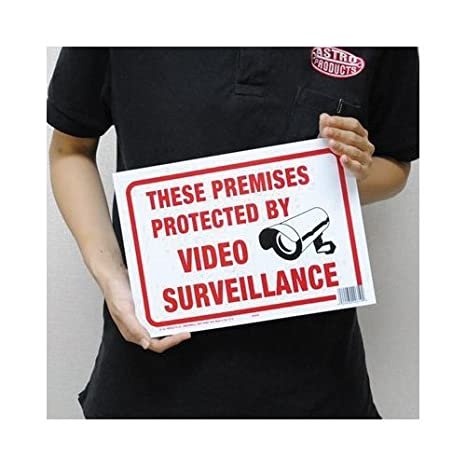 Hy-Ko Products 20619 Surveillance Plastic Sign 8.5 x 12 Red//White