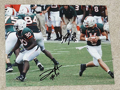 TYRONE MOSS #30 & KYLE WRIGHT #16 Signed MIAMI HURRICANES 8x10 photo - THE