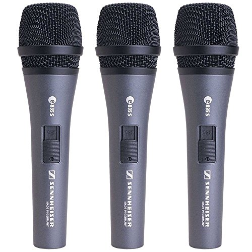 Sennheiser E 835-S Live Vocal Microphone with On Off Switch - 3-Pack