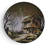 7'' Print Ceramic Plate Rustic Home Decor Old Haunted Abandoned Wood House at Dark Night with Bats Scary Horror Paint