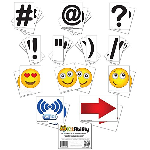 Get Social 4 Inch Set for White or Black Sidewalk Signs, KitAbility Set Includes Emoji's, Symbols, Additional Punctuation, and Arrows (White Background)