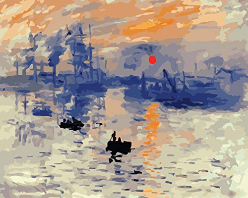 DIY Oil Painting Paint by Number Hand Paintworks 16X20 Inches Sunset Sea Sailboat