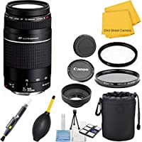 Canon EF 75-300mm f/4-5.6 III USM Telephoto Zoom 33rd Street Lens Bundle for Canon SLR Cameras