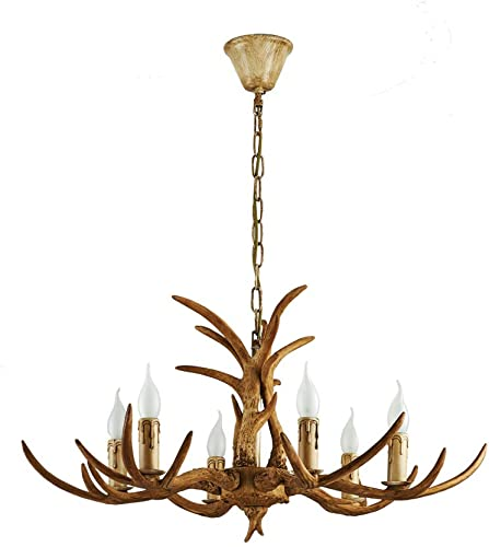 Dyrabrest Retro Resin Deer Horn Chandelier 6-Light LED Lamp Antler Ceiling Fixture Light Pendant Light