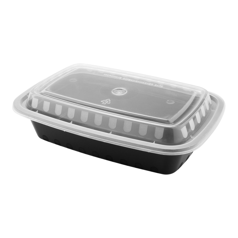 24-OZ Asporto Microwavable To-Go Container - PP Black Rectangular Food Container with Clear Plastic Lid: Perfect for Catering Events and Restaurant Takeout – Disposable and Eco-Friendly – 100-CT by Restaurantware (Image #5)