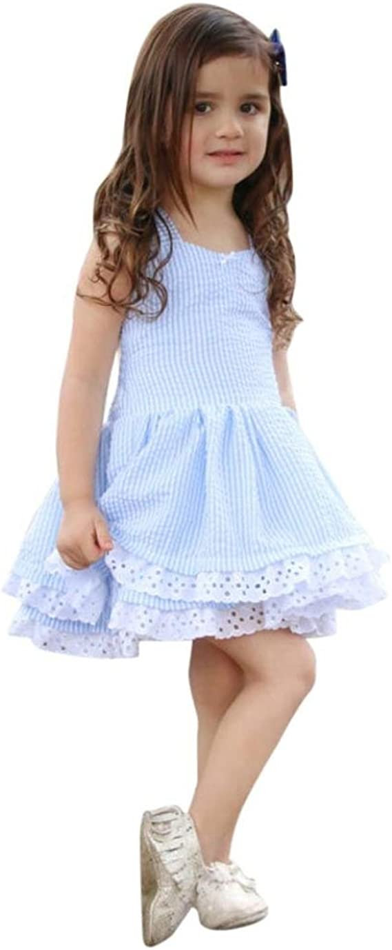 Angelof Robe Dentelle Dos Nu Enfants Bambins Blouse Raye A Volants Bleu Bebe Fille Habits D Ete Jupe Fete Princesse Amazon Fr Vetements Et Accessoires