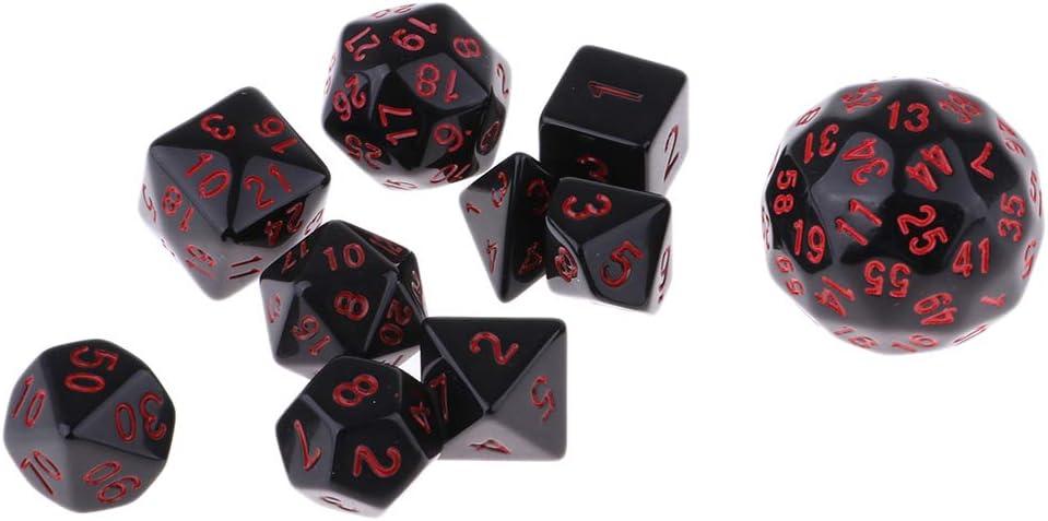Baoblaze Juegos de Dados de 10 Piezas Dados Multifacéticos para Jugar a Mazmorras y Dragones - Rojo