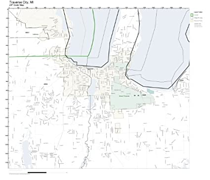 Amazon Com Zip Code Wall Map Of Traverse City Mi Zip Code Map